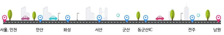 서울, 인천 → 안산 → 화성 → 서산 → 군산 → 동군산IC → 전주 → 남원